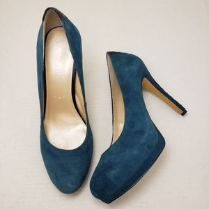 Nine West Heartbeat Teal Closed Toe Heels Sz 9M